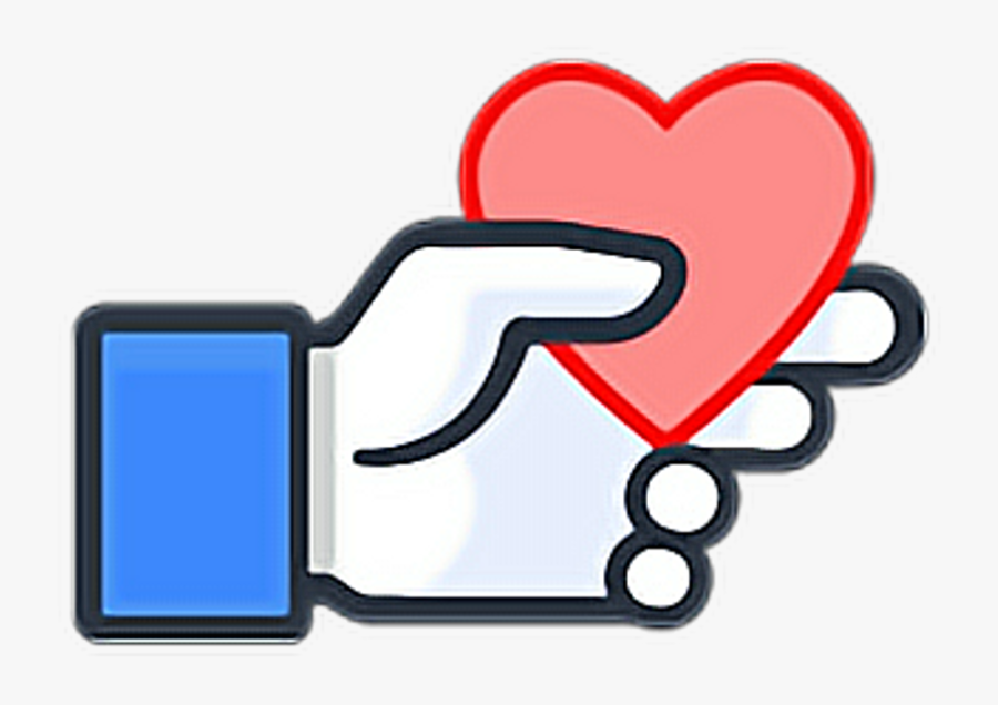 Like Heart Hand Ftestickers Stickers Autocollants Smil - Facebook Like With Heart, Transparent Clipart