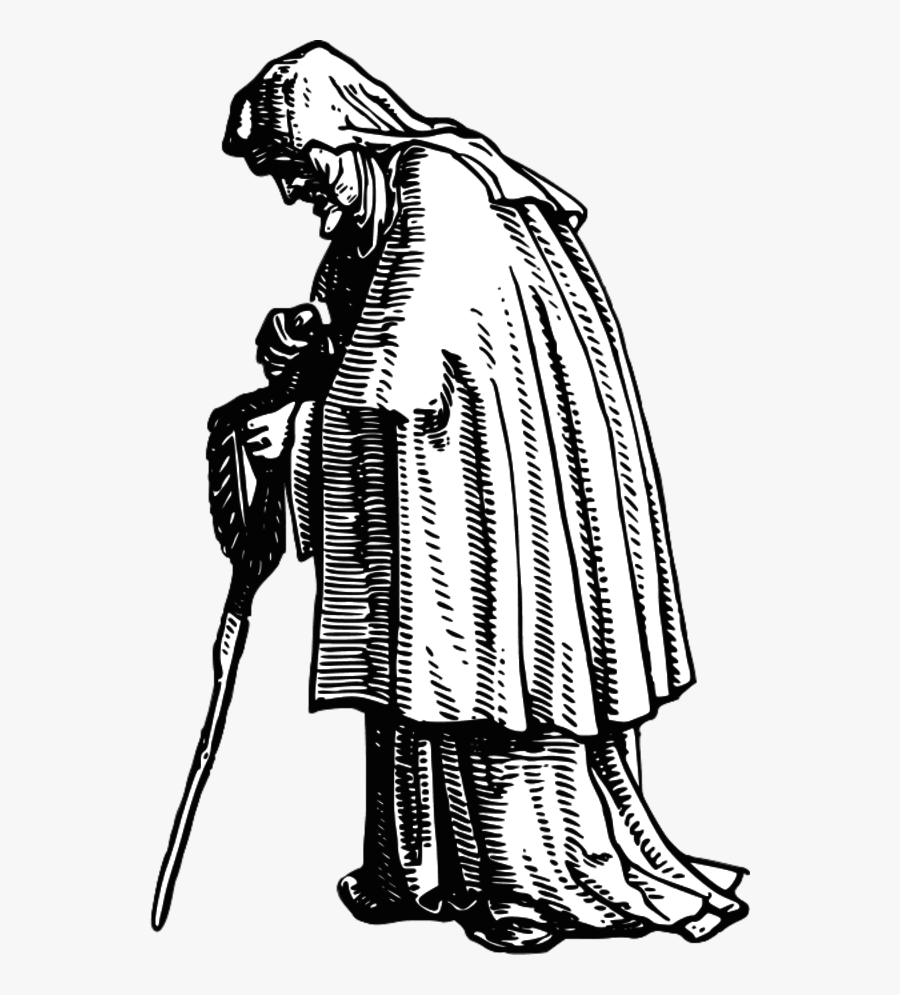 Robed Old Woman - Medieval Old Man Drawing, Transparent Clipart