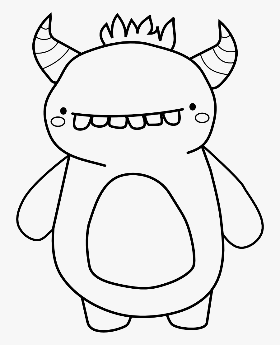 Transparent Nose Clipart Black And White - Cute Monster To Color, Transparent Clipart