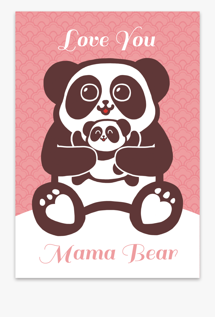 Hong Kong Gift Present Hk Themed Mothers Day Card - Love You Mama Bear, Transparent Clipart