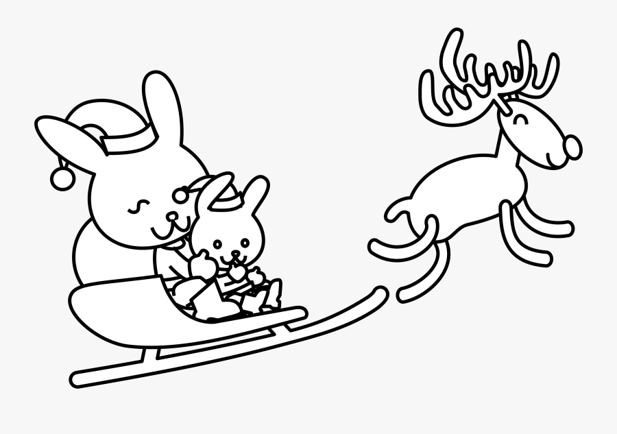 Drawing Clipart Colouring Page - Christmas Bunny Coloring Pages, Transparent Clipart