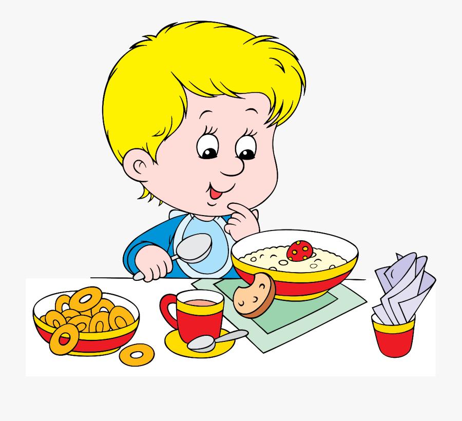 Healthy Breakfast Menu - Boy Eating Breakfast Clipart, Transparent Clipart