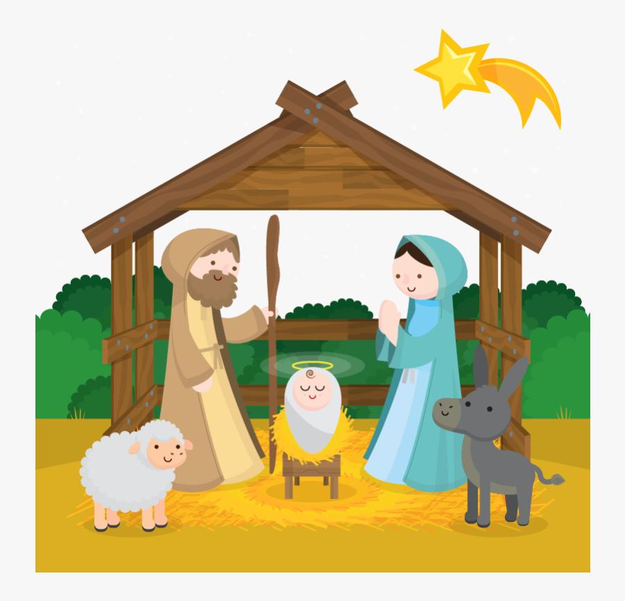 Clip Art Free Manger Scene Clipart - Birth Of Jesus Png, Transparent Clipart
