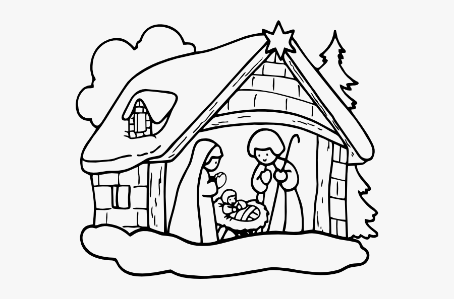 Drawing Christmas Nativity Scene Huge Freebie Download - Christmas Day Clipart Black And White, Transparent Clipart