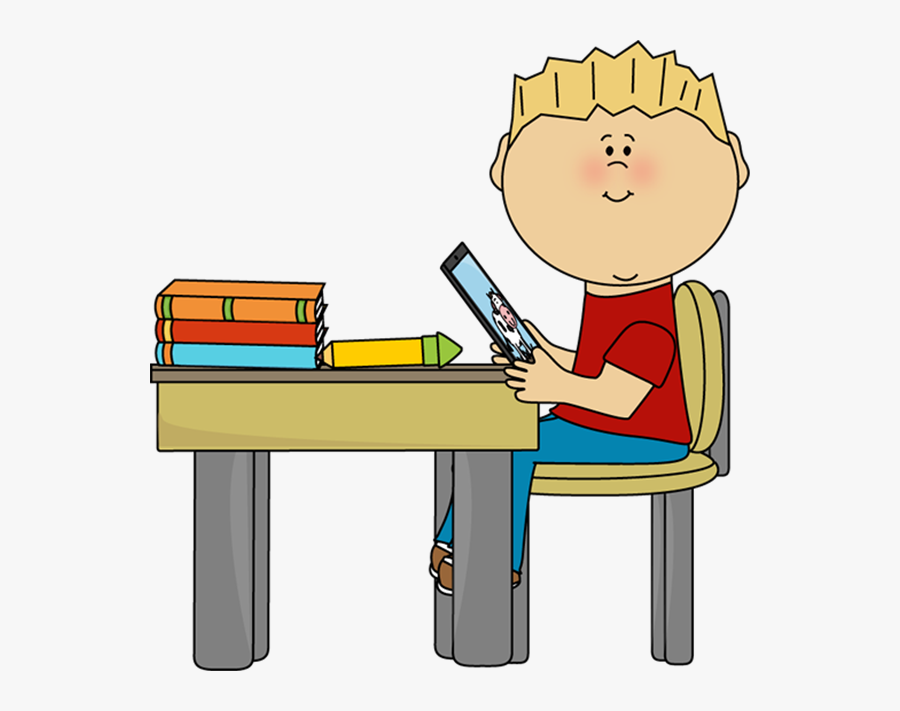 28 Collection Of Student Ipad Clipart - Sitting At Desk Clipart, Transparent Clipart
