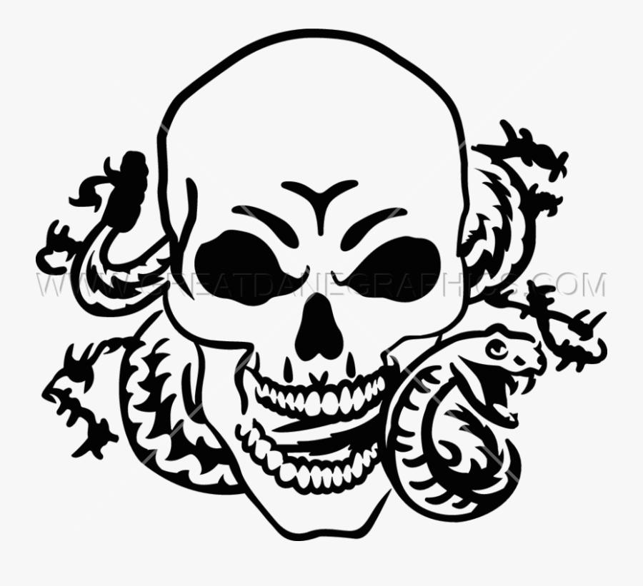 Snake Skeleton Human Skull Symbolism Clip Art - Cool Snake And Skull Drawing, Transparent Clipart