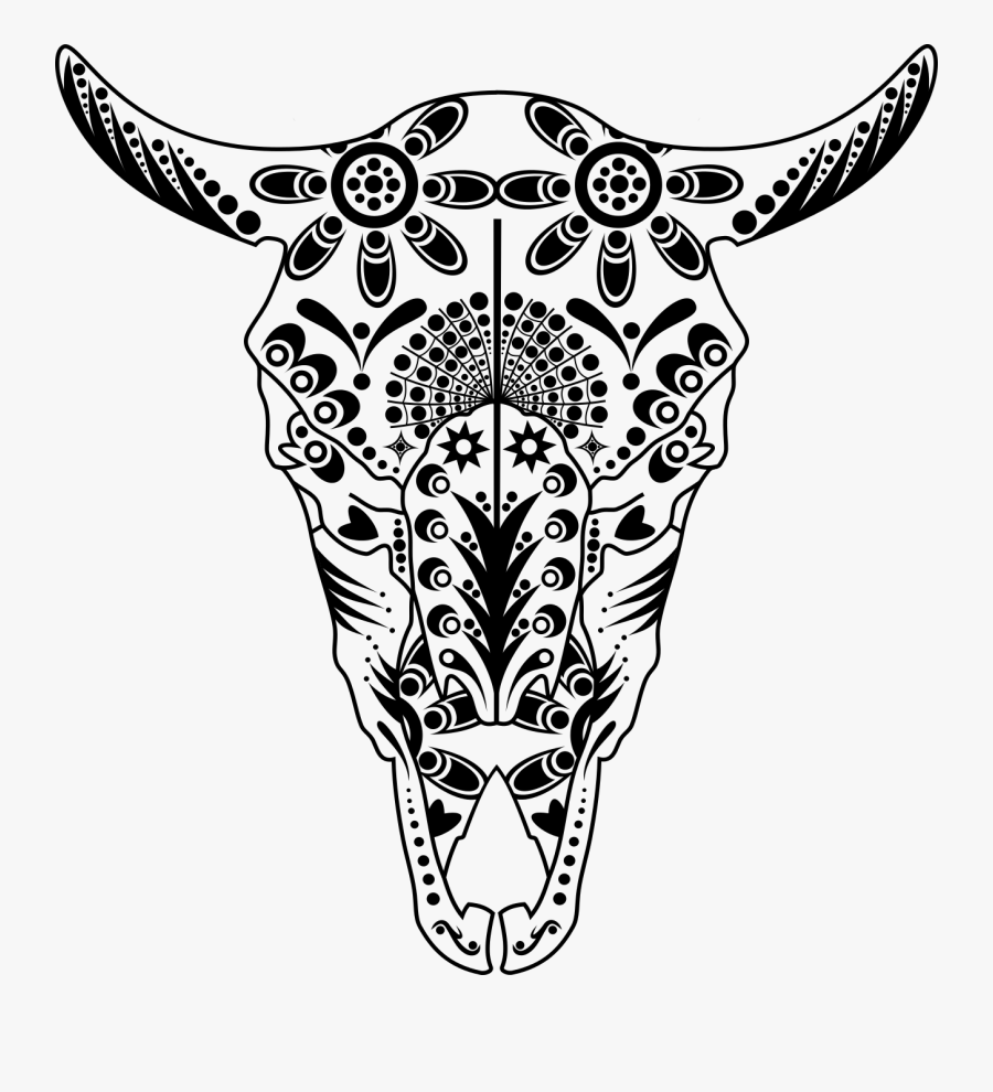 Longhorn Skull Drawing At Getdrawings - Cow Skull Coloring Pages, Transparent Clipart
