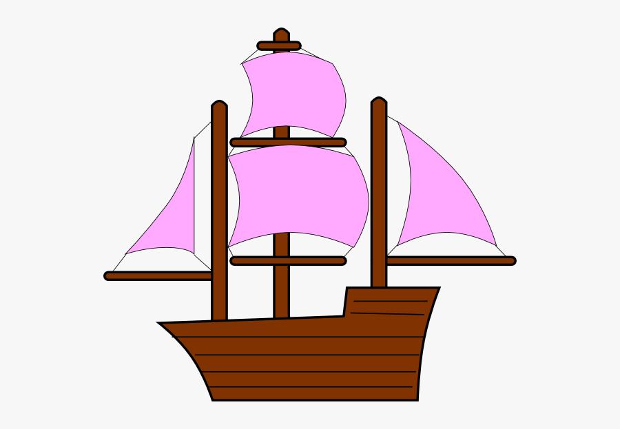 Pink Pirate Ship Clipart, Transparent Clipart