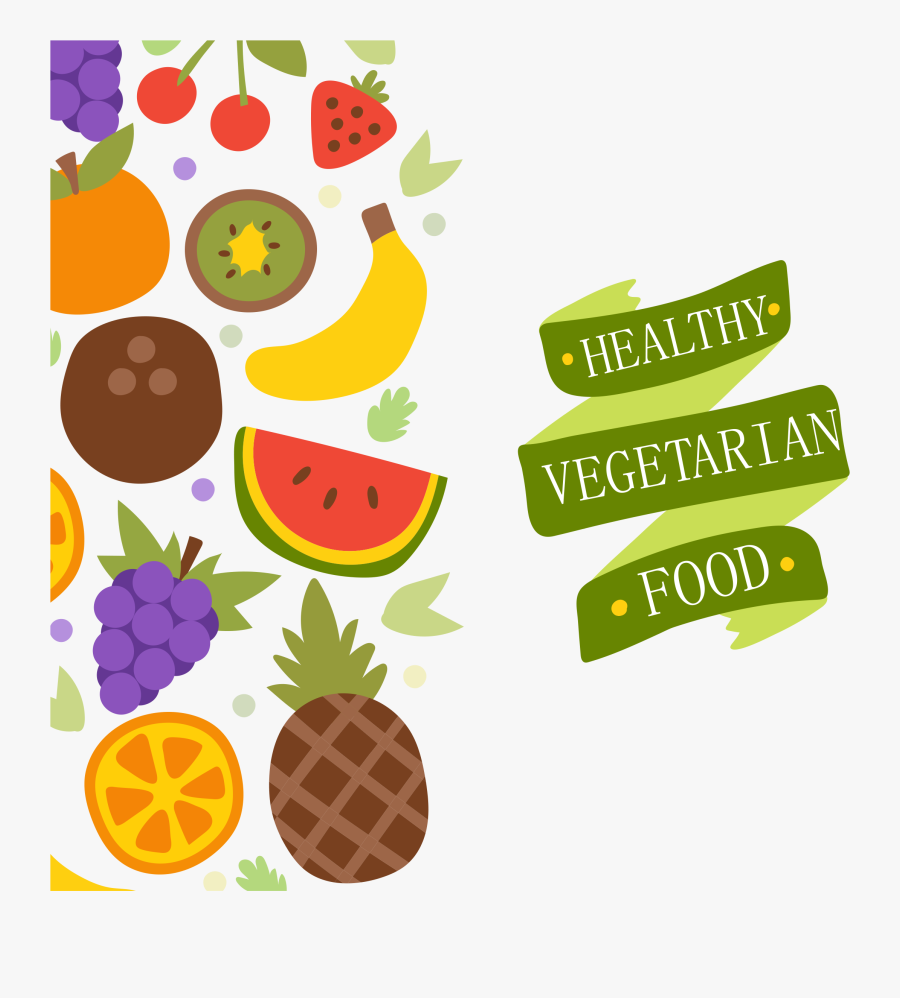 Vegetarian Cuisine Organic Food Health Food Fruit - Fruit Vector Background Hd, Transparent Clipart
