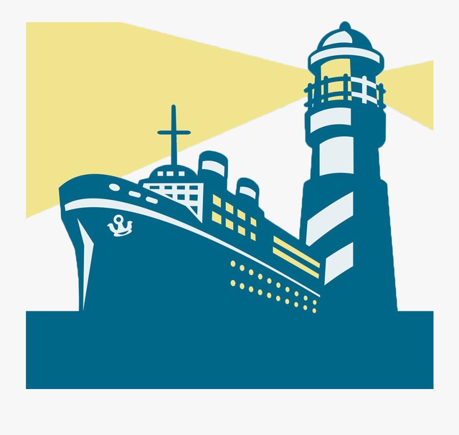 Transparent Cargo Ship Png - Free Lighthouse And Ship Png, Transparent Clipart