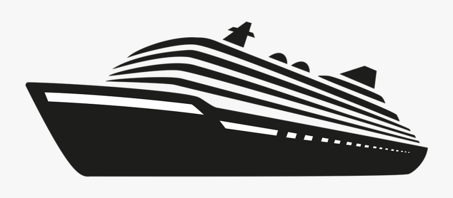 Ship, Cruise, Travel, Vacations, Holiday, Icon - Black And White Cruise Ship Silhouette, Transparent Clipart