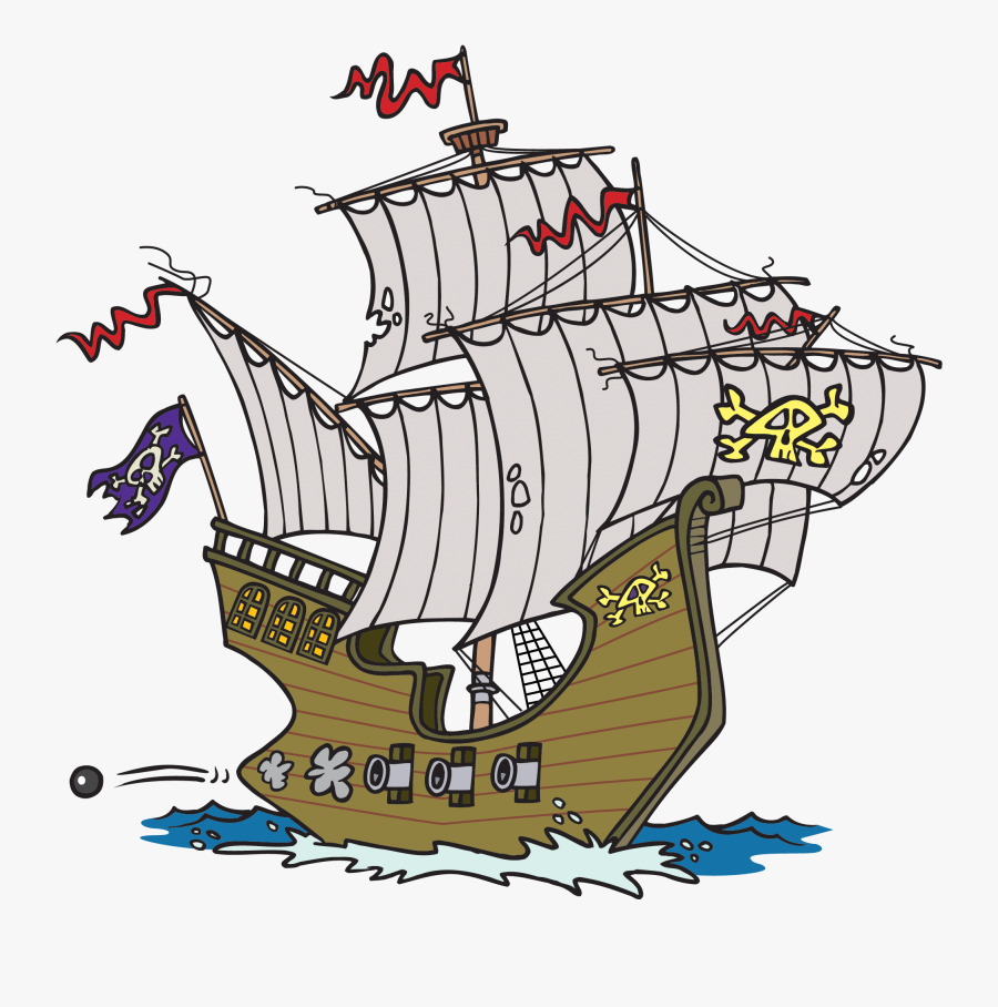 Cartoon Ship Clipart - Pirate Ship With Cannons, Transparent Clipart