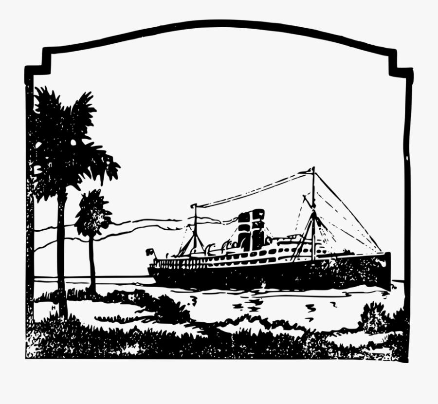 Watercraft,monochrome Photography,tree - Cruise Ship, Transparent Clipart