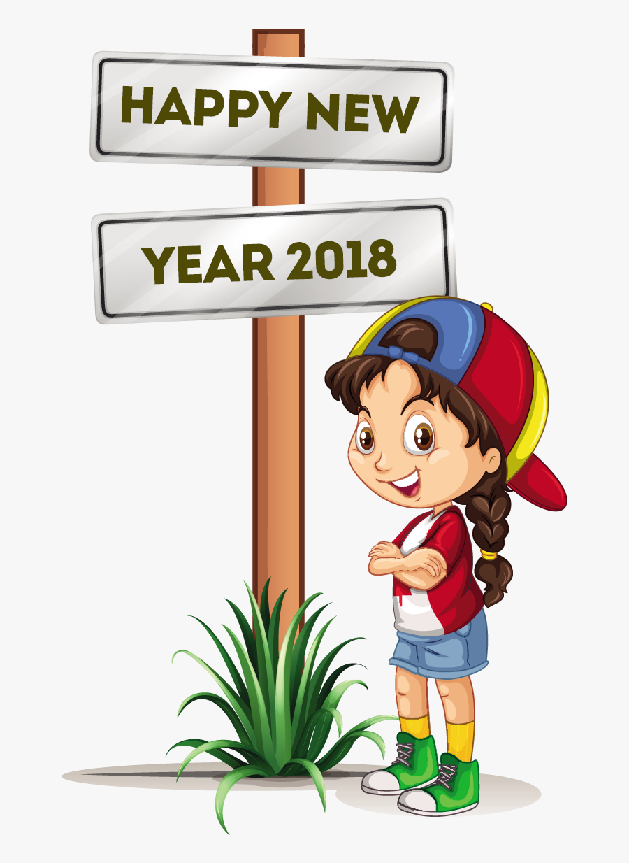 Happy New Year 8 Free Vector Download Coloring Point - Happy New Year 2018 Girl, Transparent Clipart