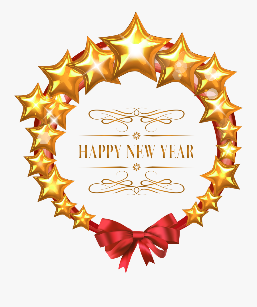 Happy New Year Stars Oval Decor Png Clipart Image - Happy New Year Png Star, Transparent Clipart