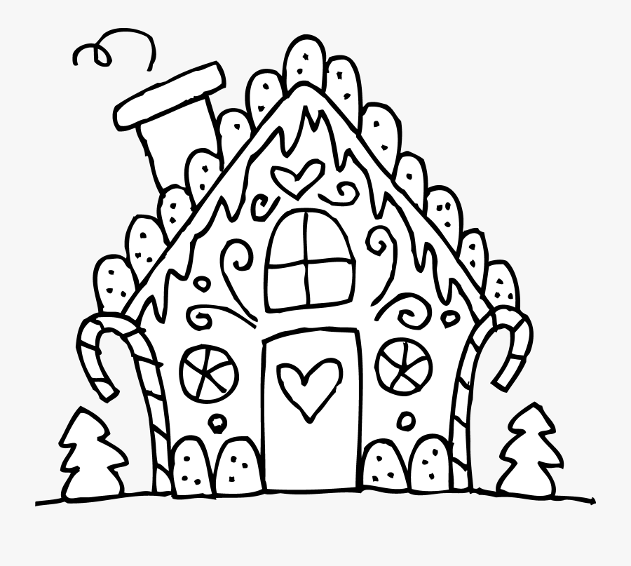 Free Clipart Gingerbread House And Men - Gingerbread House Christmas Coloring Sheets, Transparent Clipart
