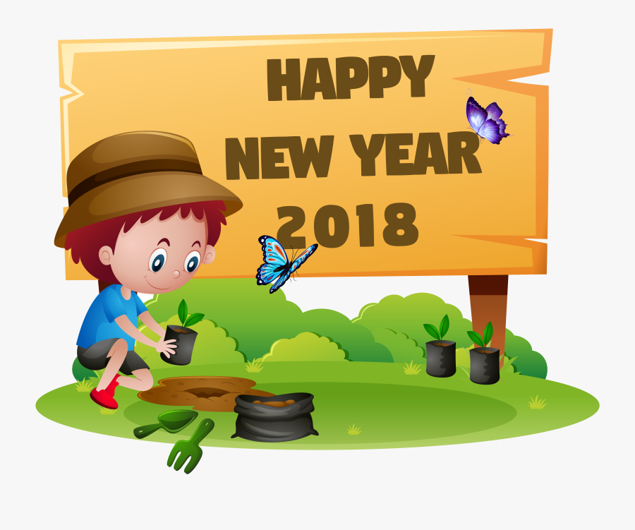 Graphic Freeuse Download 2018 New Year Clipart - Happy New Year 2018 Kids, Transparent Clipart
