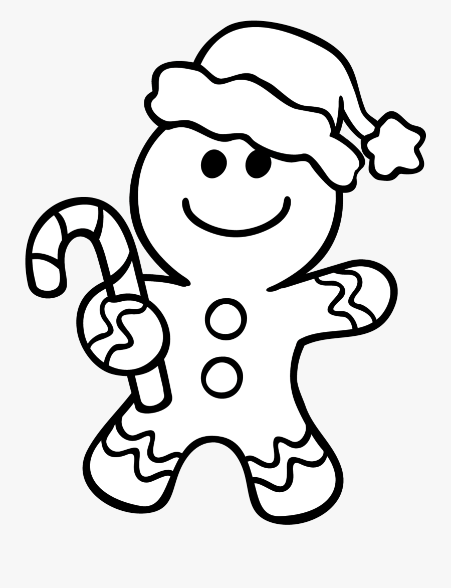 Gingerbread Man Coloring Page - Christmas Coloring Pages Gingerbread Man, Transparent Clipart