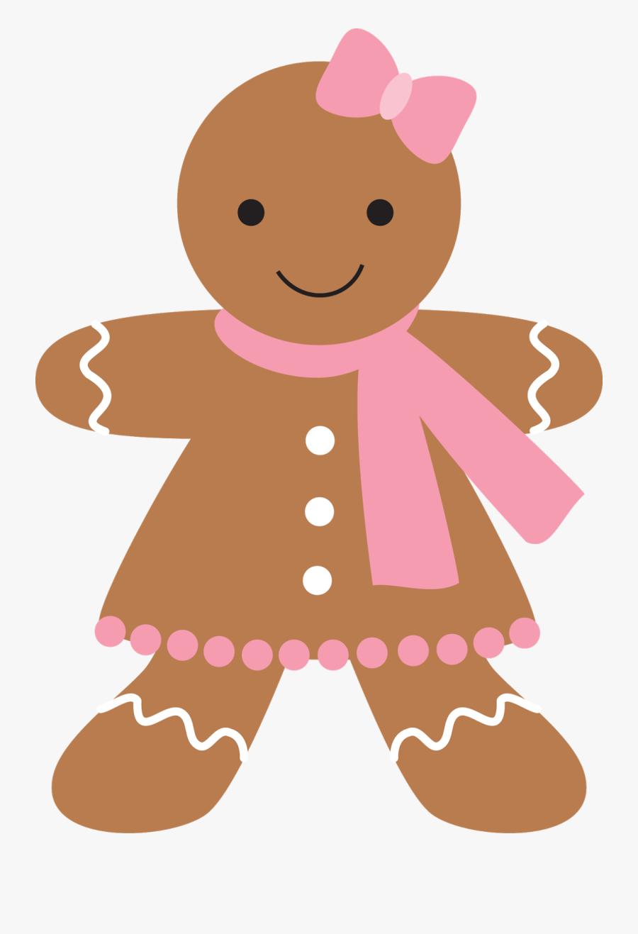 Christmas Clip Art 2 - Pink Gingerbread Girl Clipart, Transparent Clipart