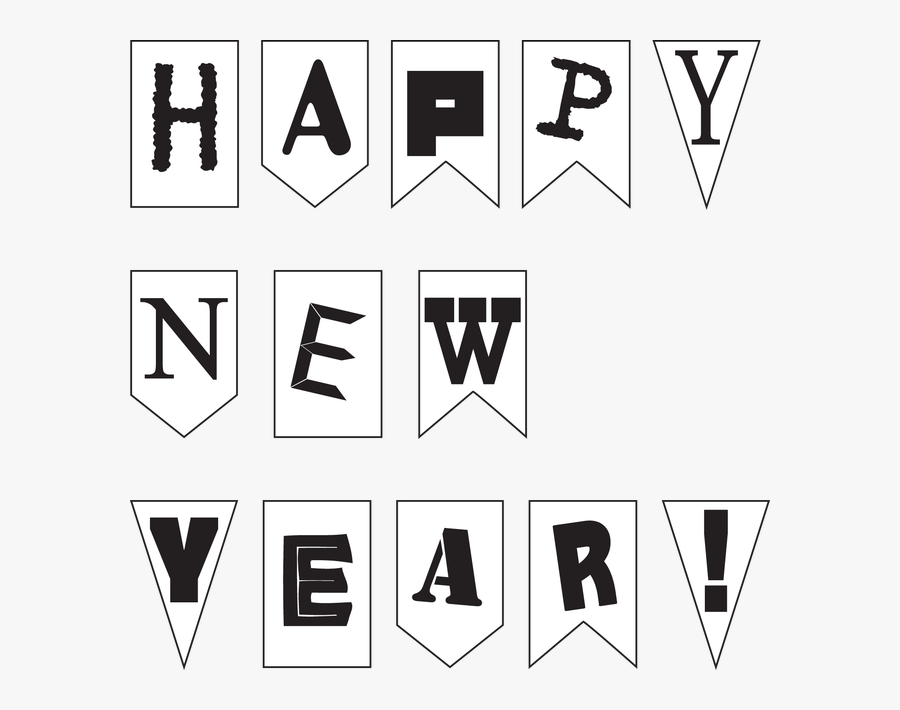 New Year Black And White - Happy New Year Black And White, Transparent Clipart