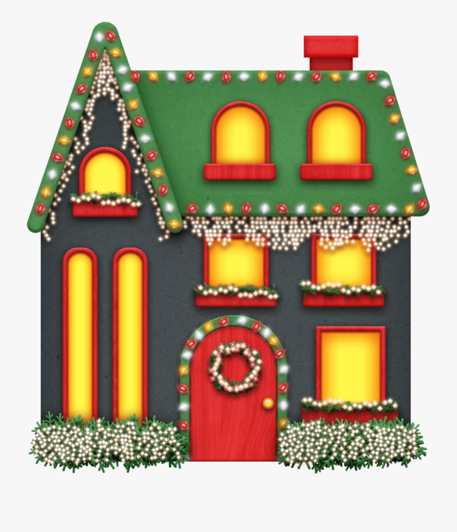 House Clipart Decorated - Christmas Lights House Clipart, Transparent Clipart