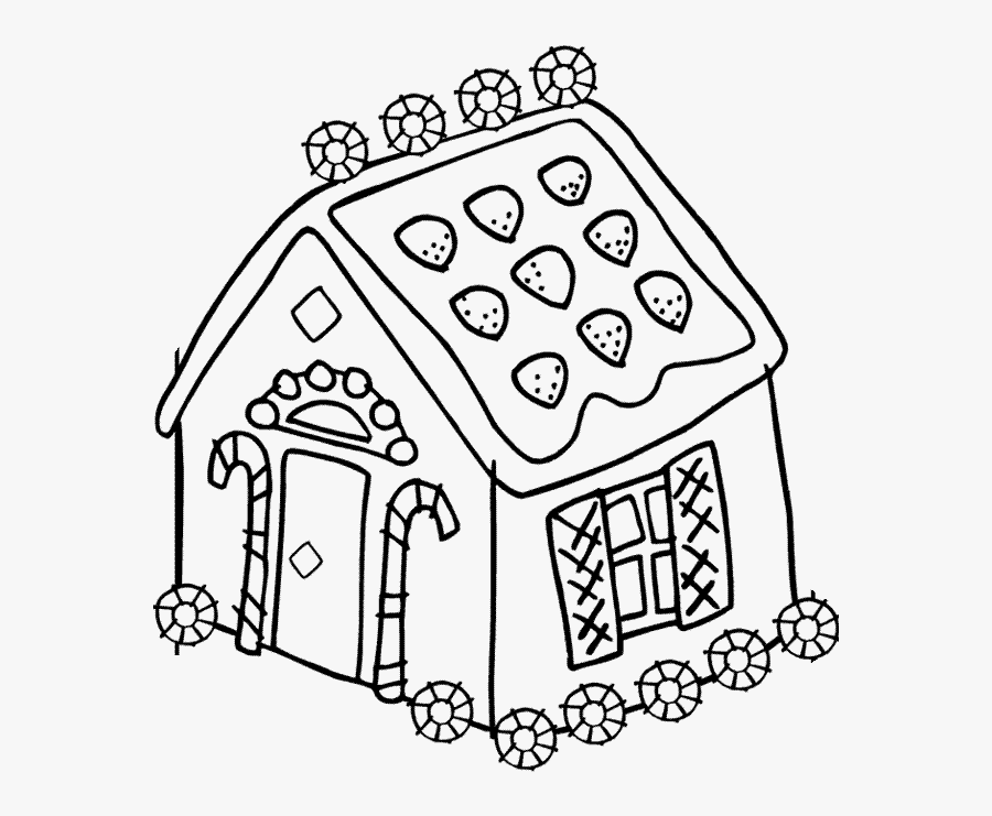 Gingerbread House Coloring Pages For Kids Printable - Christmas Coloring Pictures Gingerbread House, Transparent Clipart