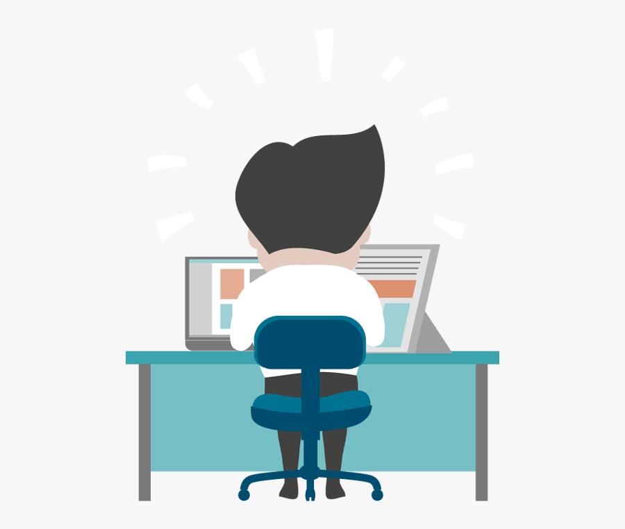 Office Man Clipart Png - Cartoon Man Working At Desk, Transparent Clipart