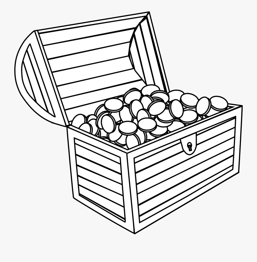 Treasure Chest Black And White Clipart - Small Treasure Chest Drawing, Transparent Clipart