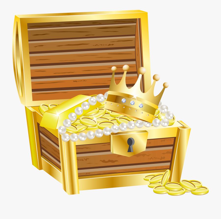 Treasure Chest With Gold Transparent Clip Art Image - Transparent Background Treasure Chest Clip Art, Transparent Clipart