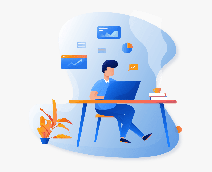 Employee Working On Back Office Operations - Design Style Illustration Web, Transparent Clipart
