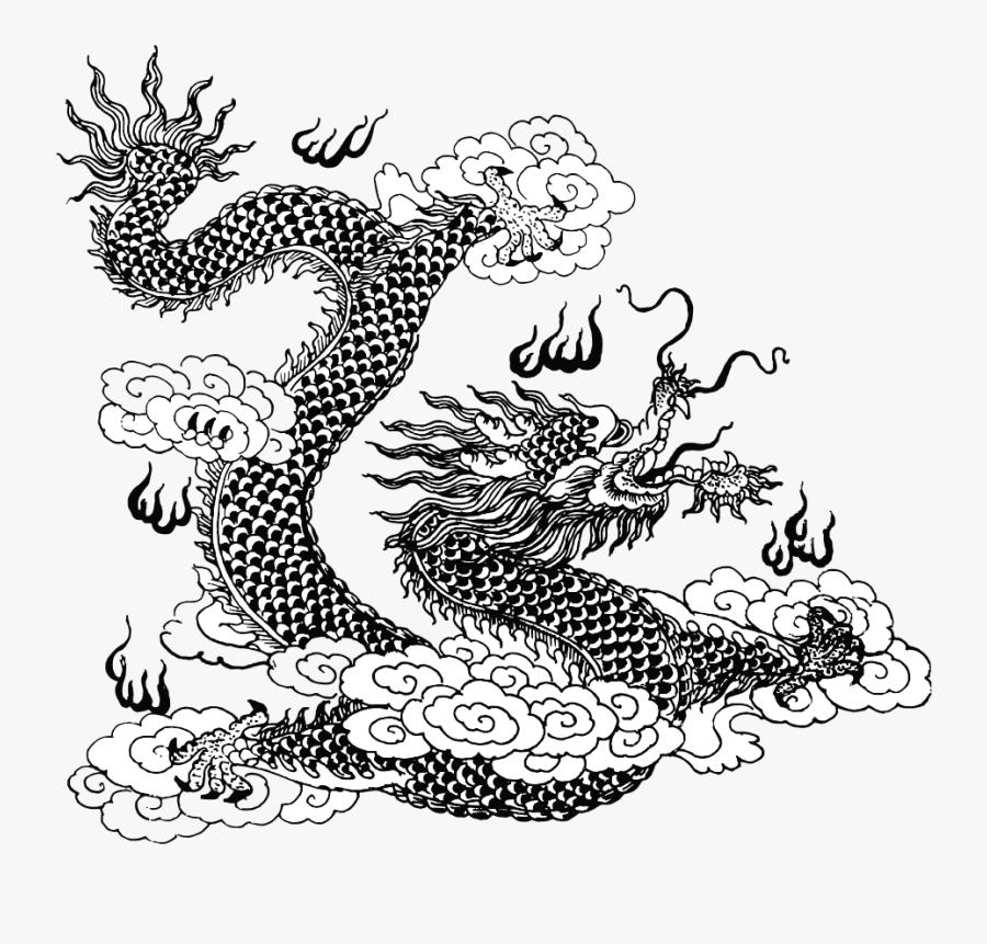 Asian Dragon Line Art, Transparent Clipart