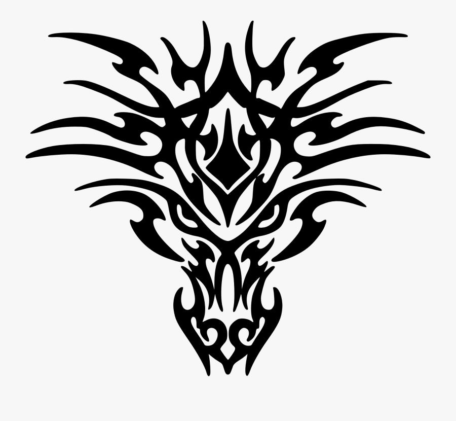 Dragon Clipart - Tribal Dragon Head Tattoo, Transparent Clipart