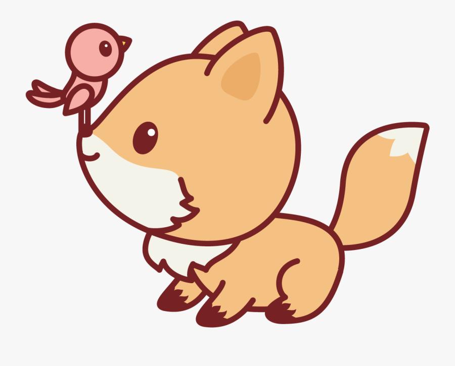 Bird Nerdy Fox Kawaii Cute Cartoon Fox Free Transparent