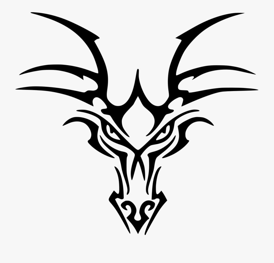 Tribal Dragon Head Tattoo, Transparent Clipart