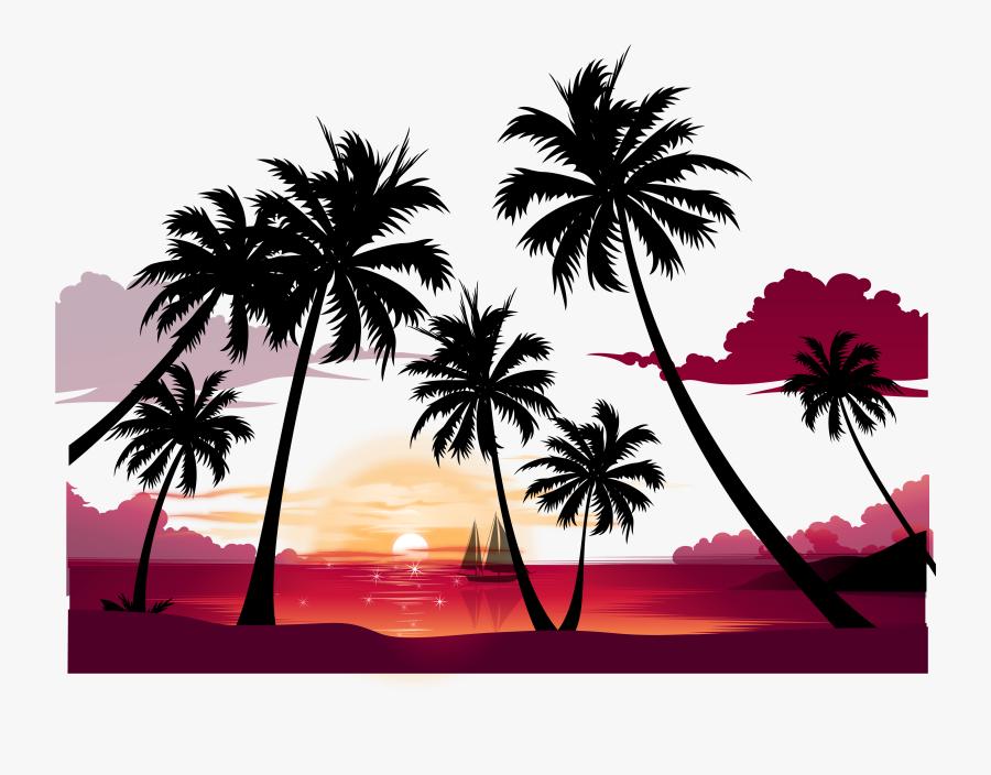 Clip Art Display Resolution Summer Wallpaper - Palm Tree Sunset Png, Transparent Clipart