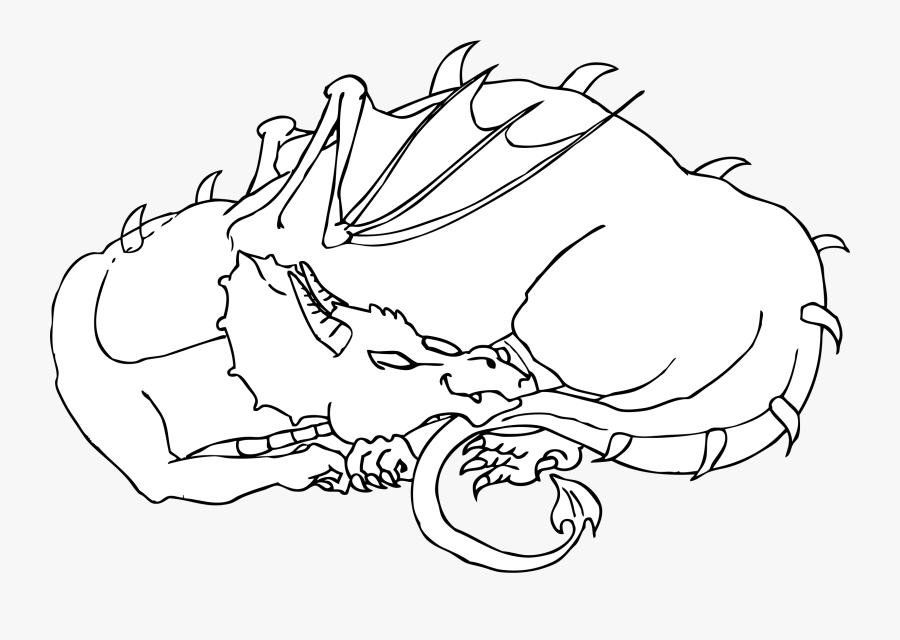 Sleeping Dragon Line Art Clip Arts - Sleeping Dragon Colouring Pages, Transparent Clipart