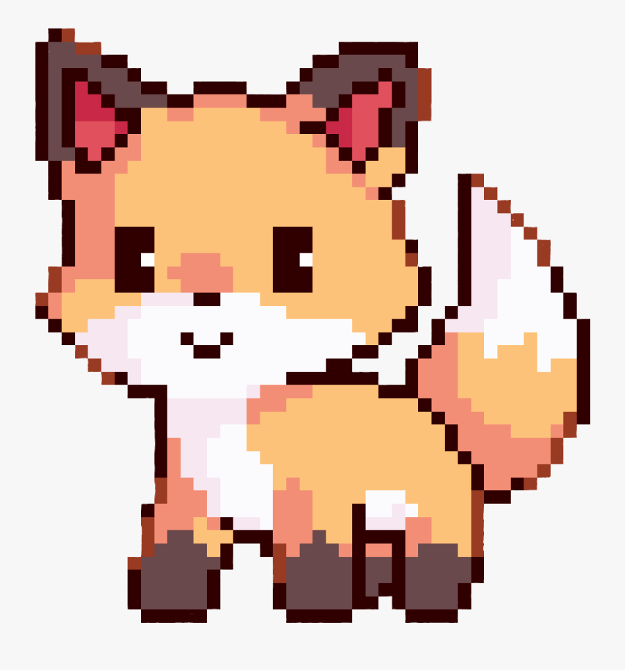 Cute Fox Pixel Art Clipart Pixel Art Drawing - Cute Pixel Art Animals, Transparent Clipart