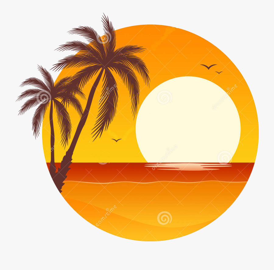 Palm Tree Sunset Clipart 400 Pixel By 150 Pxl - Palm Tree Sunset Clipart, Transparent Clipart