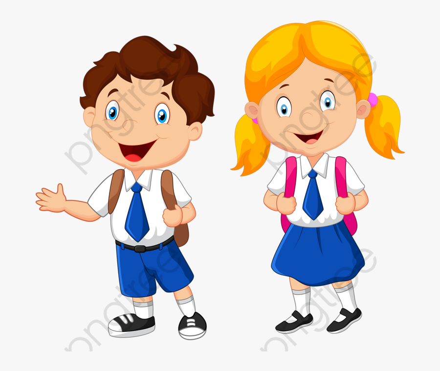 Boy And Girl In School Uniform Clipart, Transparent Clipart