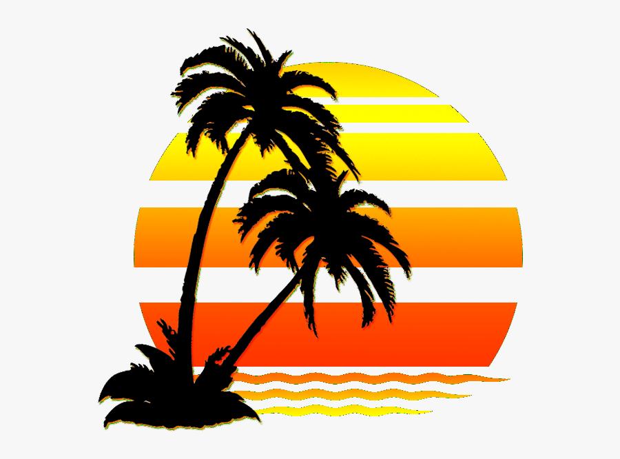 Hawaii Sunset Svg - Palm Tree Beach Clipart, Transparent Clipart