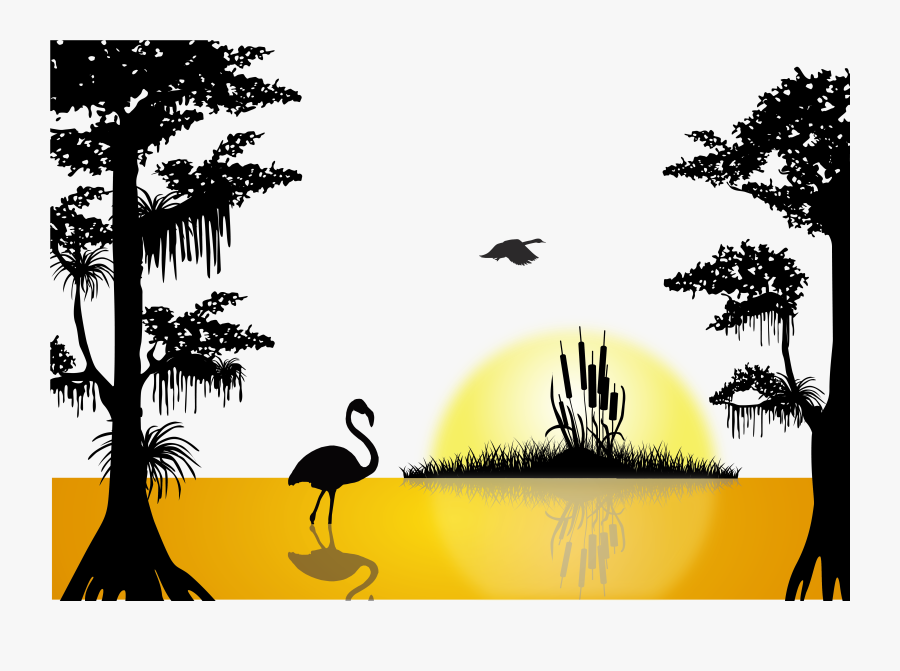 Sunset Lake Silhouette - Silhouette Of Sunset Png, Transparent Clipart