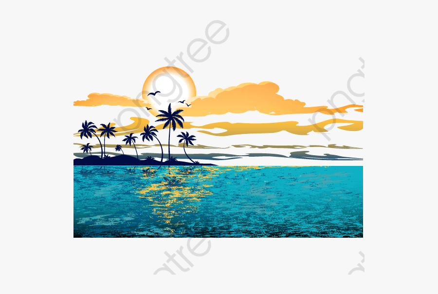 Great Wave Background - Sunset, Transparent Clipart