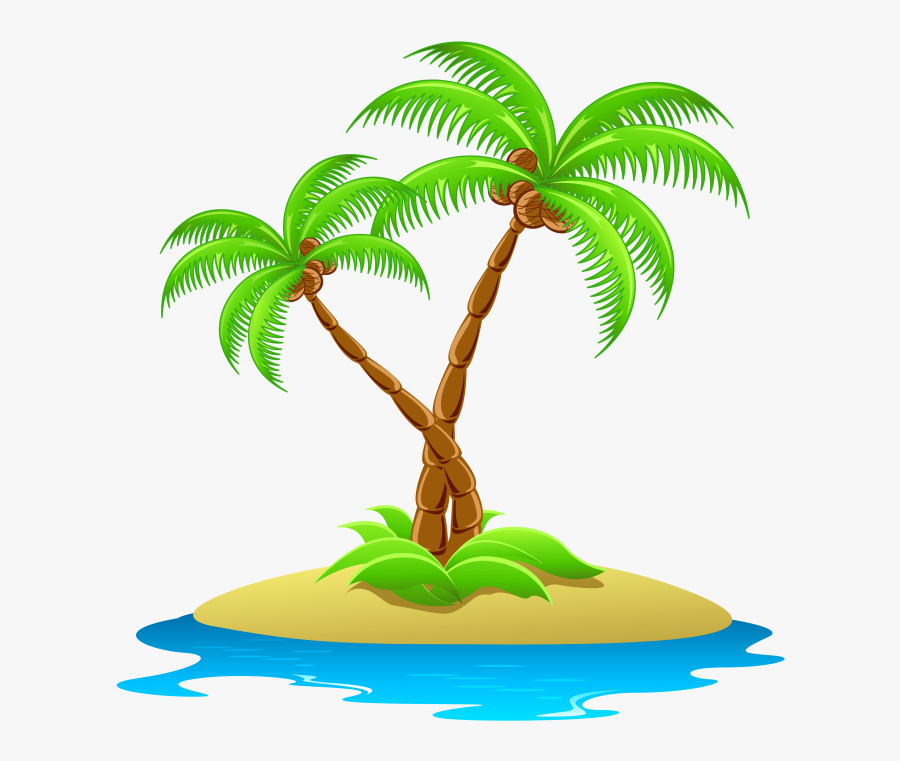 Island With Palm Trees Transparent Clipart - Palm Tree Island Clip Art, Transparent Clipart