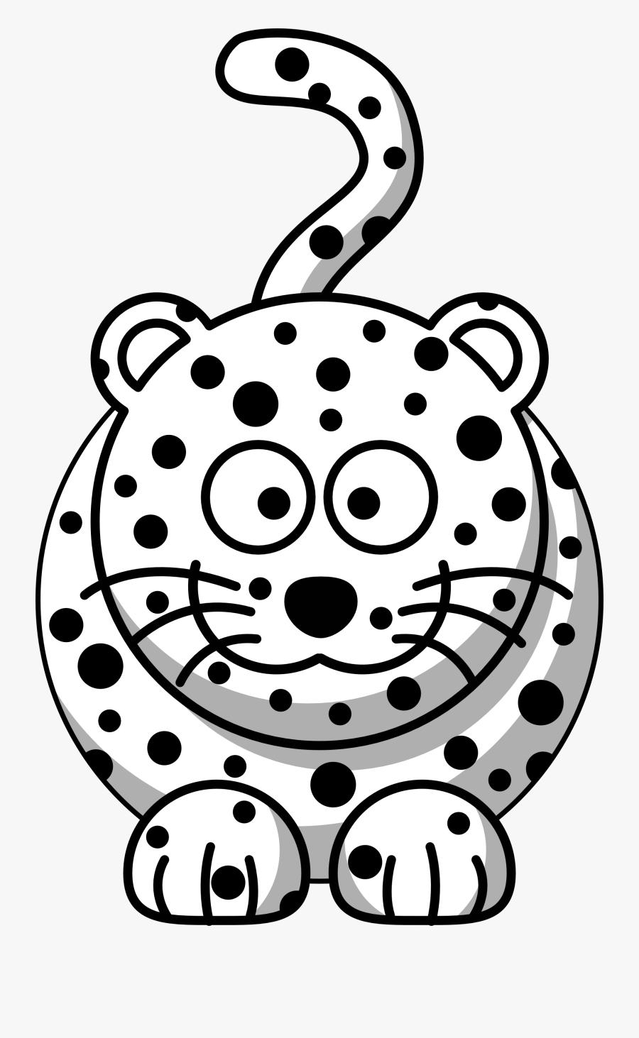 Transparent Leopard Print Png - Draw Snow Leopard Cartoon, Transparent Clipart