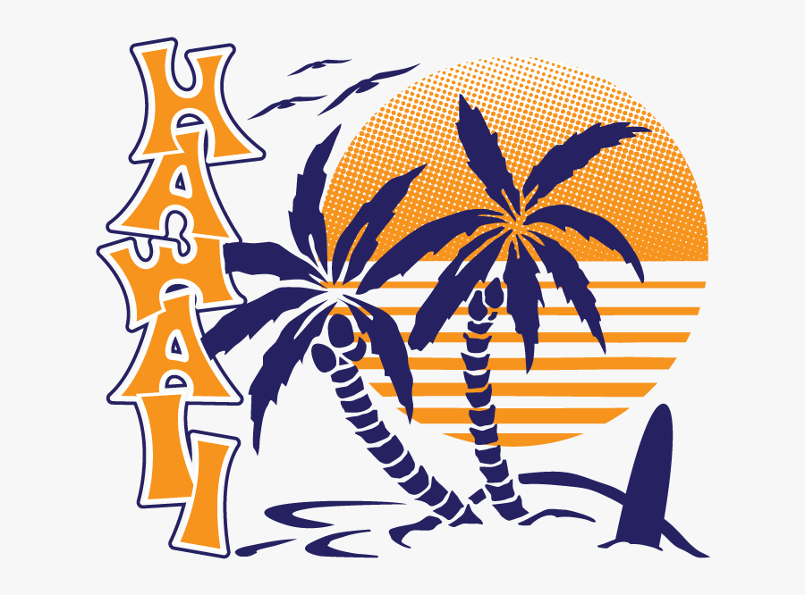 Png Free Stock Hawaiian Surfboard Clipart - Beach Tree Palm Silhouette, Transparent Clipart
