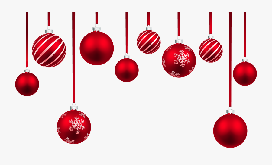 Red Christmas Hanging Balls Decor Png Clipart Image - Christmas Hanging Decorations Png, Transparent Clipart
