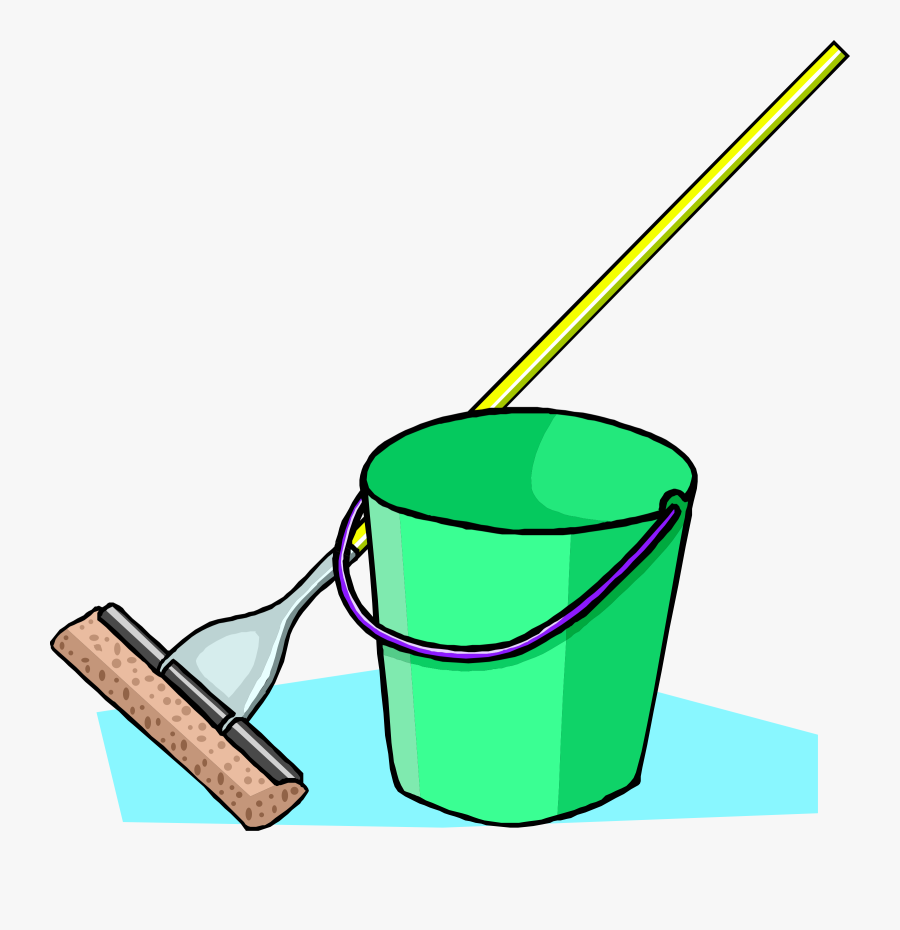 Vacuum - Clipart - Cartoon Mop And Bucket, Transparent Clipart
