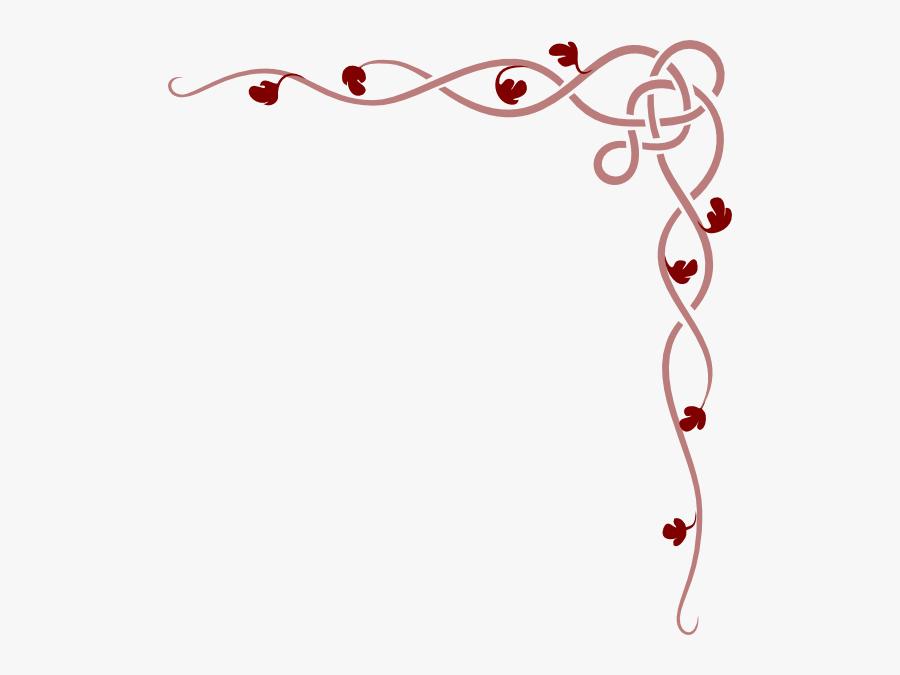 Old Rose Vine Border Reversed Clip Art - Celtic Knot Border Corner, Transparent Clipart