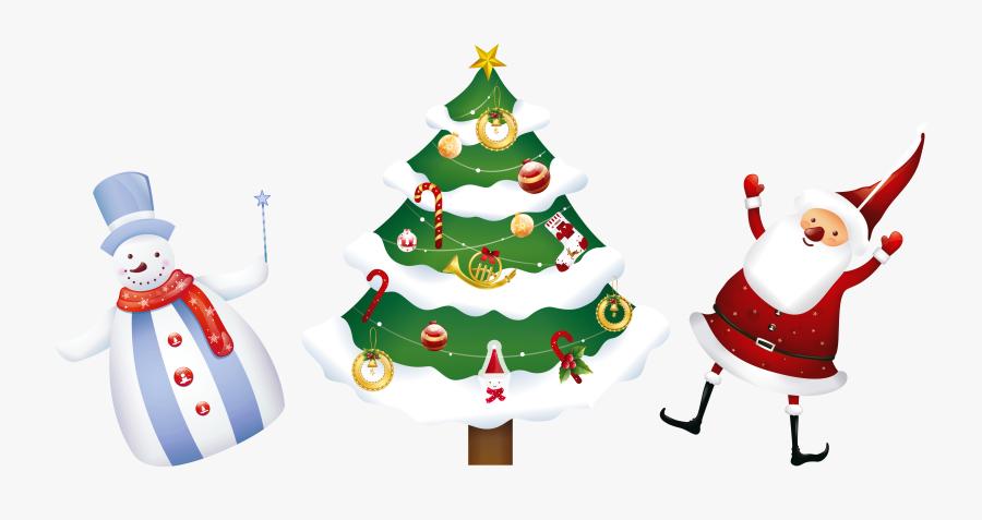 Christmas Ornaments Clipart Snowman - Christmas Santa Tree Png, Transparent Clipart
