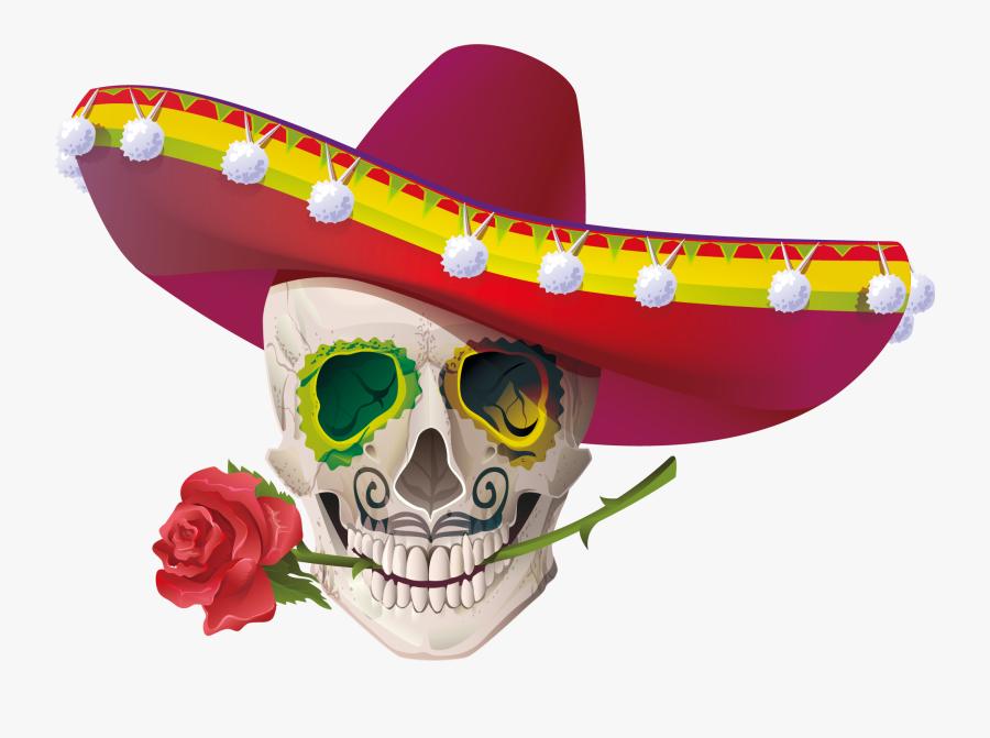 Cuisine Mexican Skull Calavera Mayo De Cinco Clipart - Mexican Cinco De Mayo Skulls, Transparent Clipart
